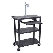Presentation AV Cart with Pullout Shelf and Monitor Mount