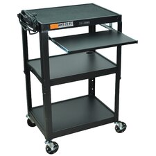 Compact Steel Mobile Computer Workstation AV Cart