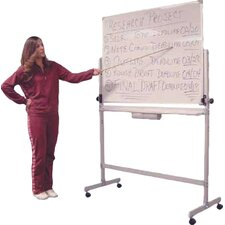 Large Double Sided Adjustable Free-Standing Reversible Whiteboard, 3' H x 4' W