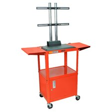 Adjustable Height Flat Panel AV Cart with Cabinet and Drop Leaf Shelves