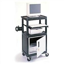 Stand-Up Laptop/Overhead Workstation AV Cart with Locking Steel Cabinet