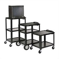 Open Shelf Fixed Height Table AV Cart with Casters and Electric Assembly