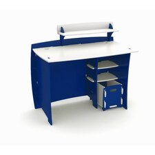 "Race 43"" Writing Desk with Accessory Shelves and File Cart"
