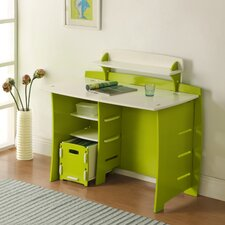"Frog 43"" Writing Desk with Accessory Shelves, File Cart, and Chair"