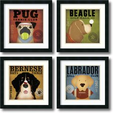 'Sport Dogs' by Stephen Fowler 4 Piece Framed Graphic Art Set