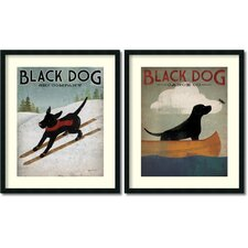 'Black Dog' by Ryan Fowler 2 Piece Framed Vintage Advertisement Set