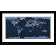 'Satellite View of the World Showing Electric Lights and Usage' by Goddard Space Center Framed Graphic Art