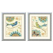 'Eastern Tale Birds' by Daphne Brissonnet 2 Piece Framed Painting Print Set