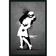 War's End Kiss - Graffiti Framed Painting Print
