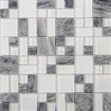 Lucente Grazia Random Sized Glass Mosaic Tile in Gray/White
