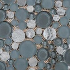Lucente Random Sized Glass Pebble Tile in Grey