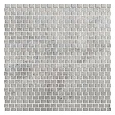 """Silver 12"""" x 12"""" Marble Mosaic Tile in Silver"""