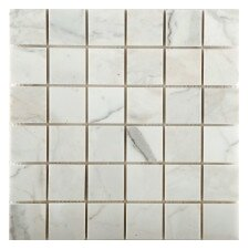 "Calacata Oro 2"" x 2"" Marble Mosaic Tile in Polished"