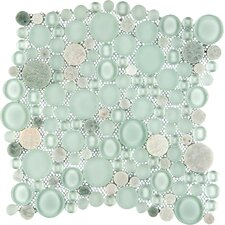 "Lucente 12"" x 12"" Random Sized Glass Pebble Tile in Lazzaro"