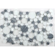 Lucente Random Sized Glass Pebble Tile in Gray/White