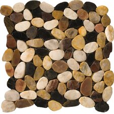 Natural Stone Random Sized Pebble Tile in 4 Color Blend