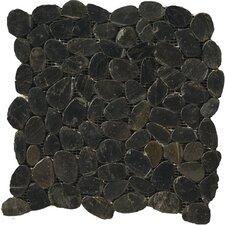 Natural Stone Random Sized Pebble Tile in Black