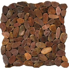 Natural Stone Random Sized Pebble Tile in Brown