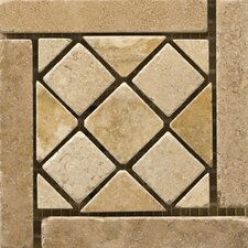 "Natural Stone 4"" x 4"" Travertine Vino Listello Corner in Arneis"