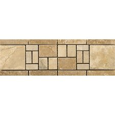 "Natural Stone 12"" x 4"" Travertine Vino Listello in Barbera (Set of 2)"
