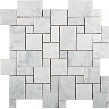 Natural Stone Versailles Random Sized Marble Mosaic Tile in Bianco Gioia