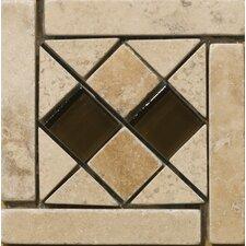 """Natural Stone 4"""" x 4"""" Sorapis Travertine Listello Corner"""