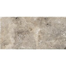 "Natural Stone 3"" x 6"" Travertine Subway Tile in Silver"