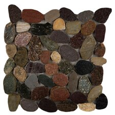 Rivera Random Sized Natural Stone Pebbles Tile in Natural