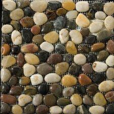 Natural Stone Random Sized Pebble Tile in 4 Color Blend