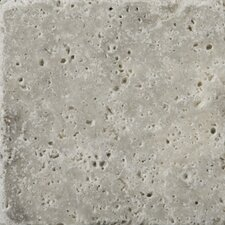 """Natural Stone 4"""" x 4"""" Travertine Field Tile in Silver"""