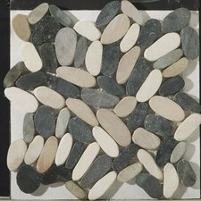 Natural Stone Random Sized Marble Pebble Tile in Multi-Color