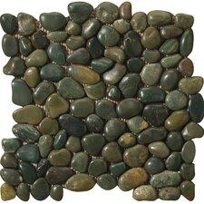 Rivera Random Sized Marble Pebble Tile in Green