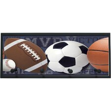 Mixed Sports Balls with Pegs Framed Graphic Art on Plaque