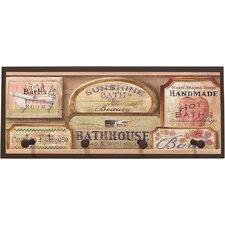Bath House Vintage with Pegs Framed Textual Art