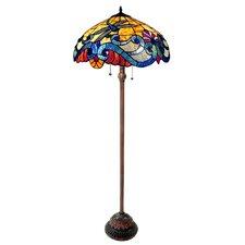"""Tiffany Style Dragonfly 63"""" Tiffany Floor Lamp"""