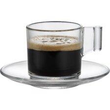 """6-tlg. Espressotasse Set """"Sensis Plus Glas"""" mit Untertassen"""