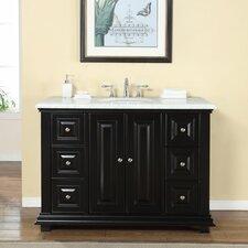 """48"""" Single Sink Bathroom White Marble Vanity Set"""