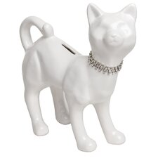 Cat with Crystal Necklace Piggy Bank