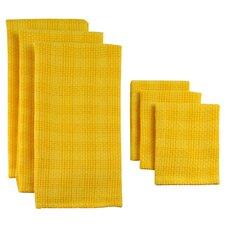 6 Piece Plaid Heavyweight Dishtowel and Dishcloth Set