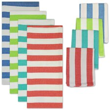 8 Piece Cabana Stripe Heavyweight Dishtowel and Dishcloth Set