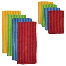 8 Piece Tripe Microfiber Towel and Cloth Set