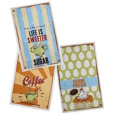 3 Piece Vintage Sign Printed Tea Towel Set