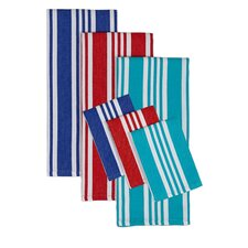 6 Piece Beach Stripe Dishtowel and Dishcloth Set