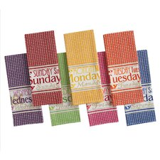 7 Piece Bright Day of the Week Printed Dishtowel Set