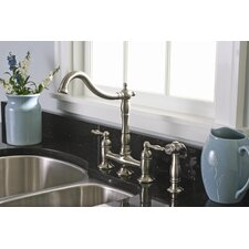 Charlestown Two Handle Widespread Bridge Faucet with Matching Spray