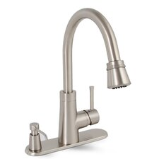 Essen Single Handle Pull Down Kitchen Faucet with Soap Dispenser