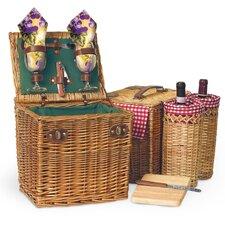 Vino Wine & Cheese Picnic Basket in Pine Green