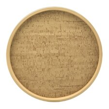 "Natural Cork 16"" Round Serving Tray"