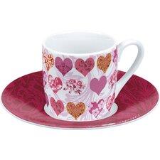 4-tlg. Espressotassen-Set Mexican Hearts