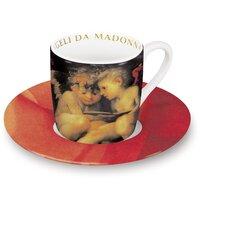 """4-tlg. 2-tlg. Espresso-Tassen Set """"Angeli"""" aus Porzellan in Madonna con Bambino-Dekor"""